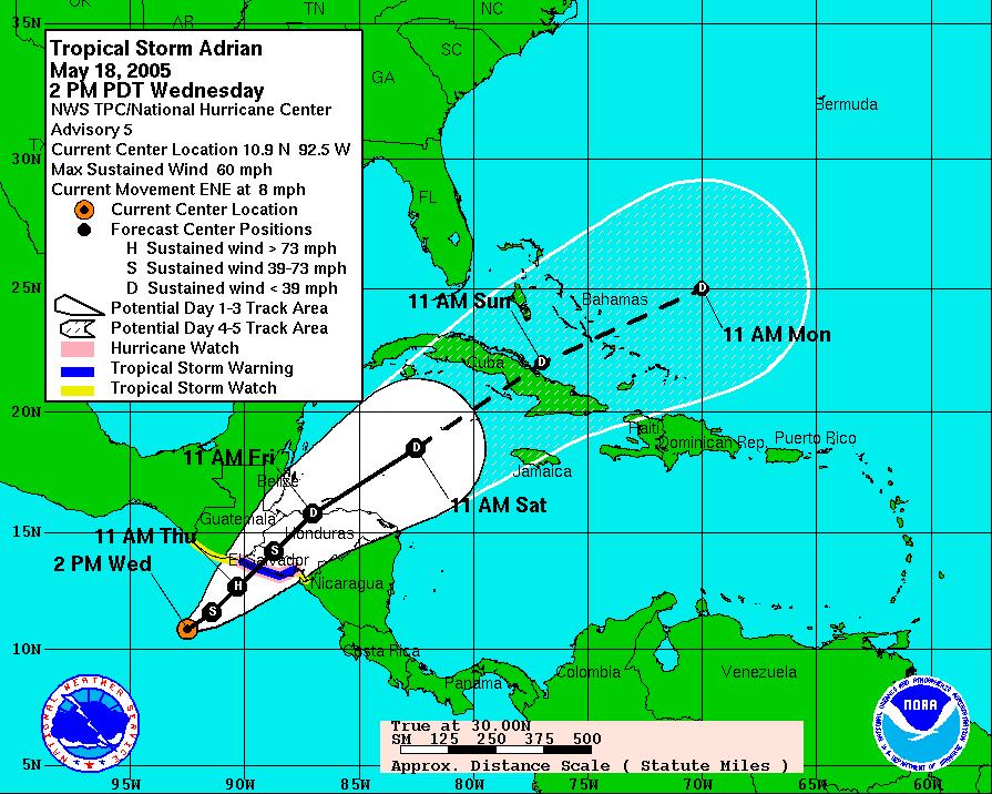 Huracán Adrían - Mayo 2005