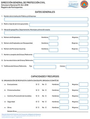Simulacro miércoles 07/nov./18 – Ficha de Inscripción Manual para las Instituciones