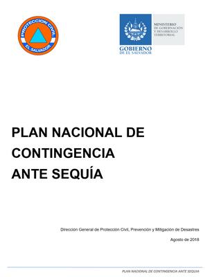 Plan Nacional de  Contingencia  Ante Sequía